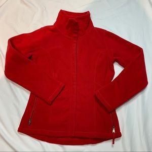 Lands' End Red Full Zip Fleece Jacket Size XS